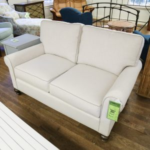 Cali Porcelin (White) Love Seat with Contrast Welt