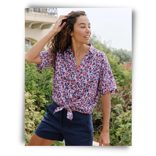 The perfect button down for the Fourth of July, featuring a red and blue floral print from Frank and Eileen.